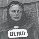 Woman with Blind Sign