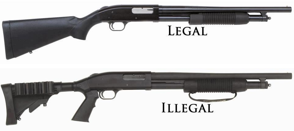 Assault-Weapon-Bans-Shotguns The top one looks like a standard shotgun. The one below has a pistol grip and a telscoping stock. Under the top one it says LEGAL. Under the bottom one, it says ILLEGAL. Beyond those two differences, the weapons are identical.